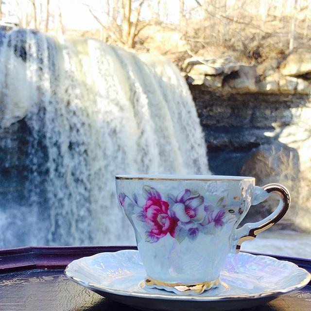 Have teacup, will travel. #rockglen #waterfall #teacup #vintageteacup