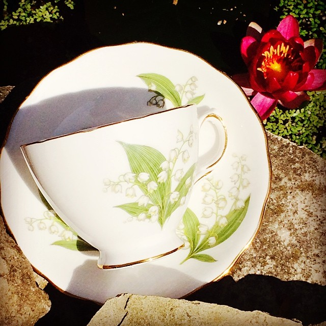 My lilies are in bloom. Gorgeous vintage Lily of the Valley for sale. $18 USD  plus shipping. Email for info. #teacup #lily #royalvale