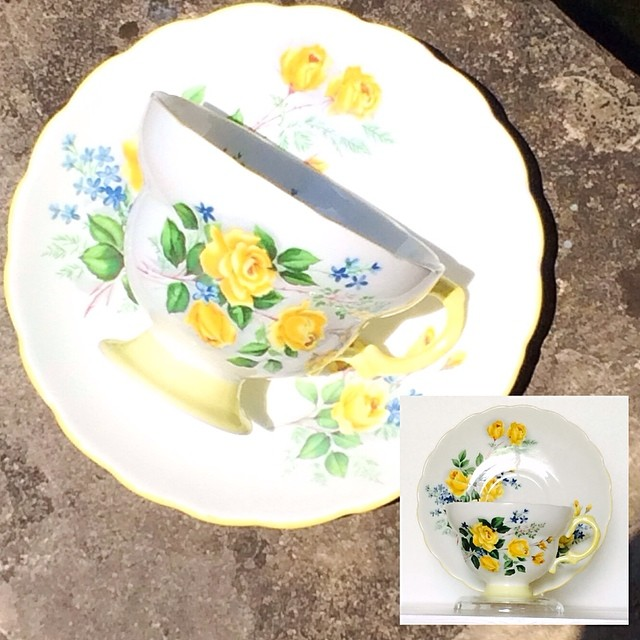 $18 USD plus shipping. Serious buyers send DM or email. We ship of several countries. Full listing of countries at teacup-treasure.com/shipping #rosina #yellow #roses #friendship #england