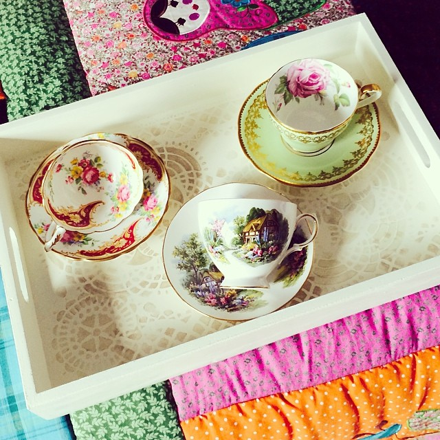 My beautiful new tray; purchased on etsy. The teacups are for sale, but the tray is not. :p #teacup #teacups #lace #etsy #vintage #shabbychic
