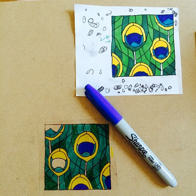 Making faux stained glass windows for my dollhouse display shelf. Going to be gorgeous. #diy #peacock
