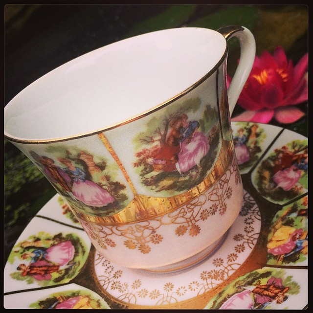 Lovely Victorian themed cup & saucer. $18 USD plus shipping. Email for more pics & info. #teacup