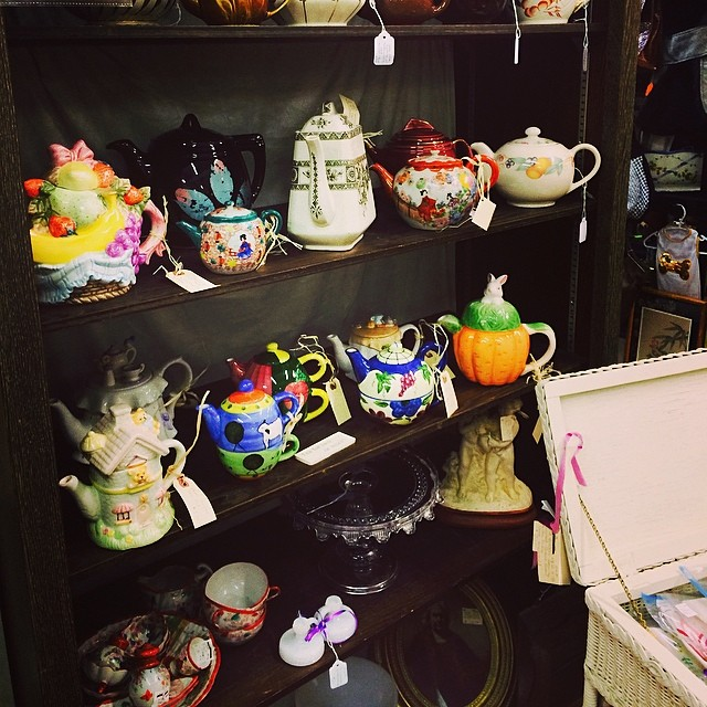 Unique teapots at the antique store. I have my heart set on a very special teapot, so I passed on them. #teapot  #vintage