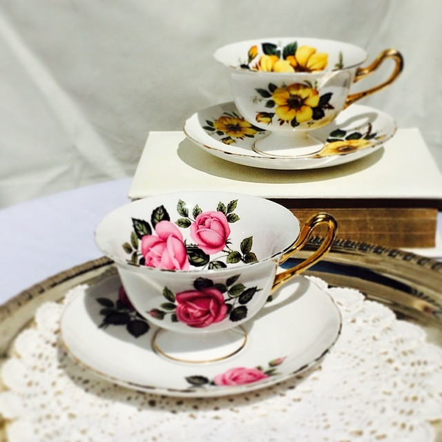 Lovely Shelley tea cups; 1945-1966. $25 USD each plus shipping. DM or email. Serious inquires only. #shelley #teacup #vintage