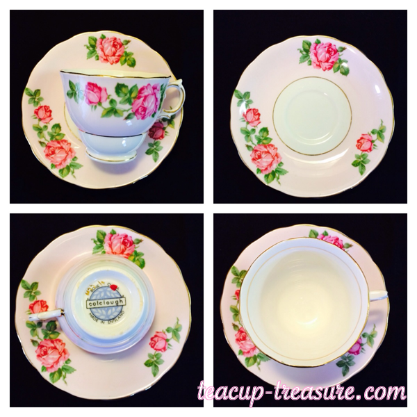Colclough - Pink/White With Pink Roses - $20 USD