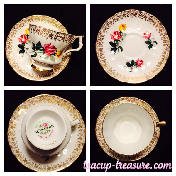 Windsor - Gold with Pink & Yellow Roses - $18 USD