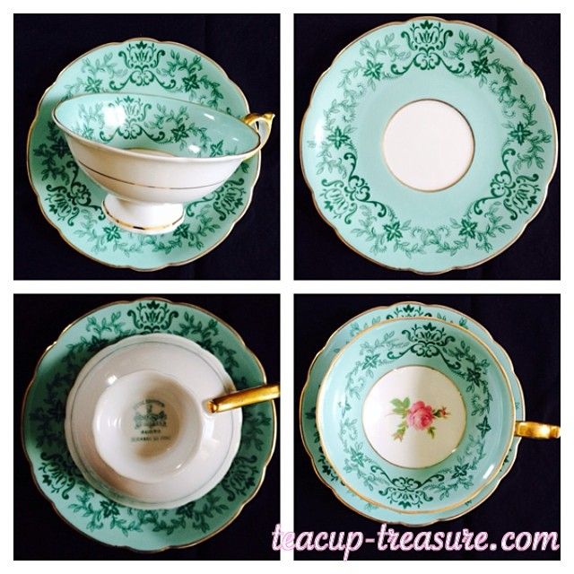 Royal Bayreuth Teal & Gold. New items just added to catalogue at: teacup-treasure.com/catalogue #teacups #vintage