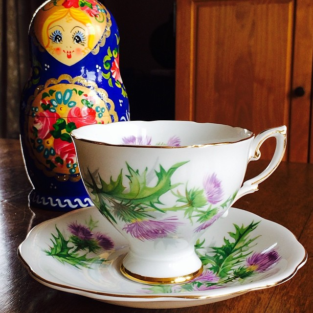 "Royal Standard ""Scots Emblem"" $20 USD plus shipping. Pictured with my newest addition to my personal matryoshka collection; she was found at a flea market. #teacup #scots #royalstandard"