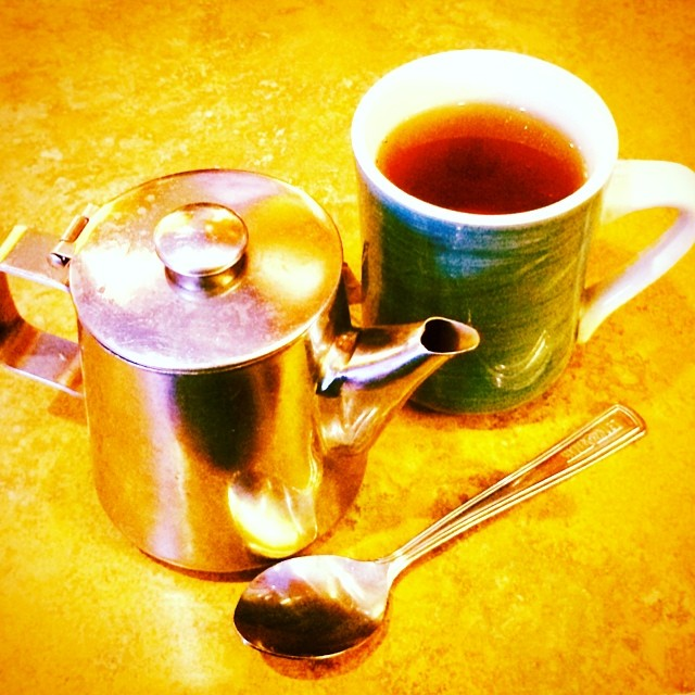 Warming up after a chilly walk. #teatime #earlgrey #teapot