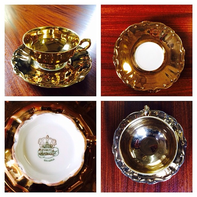 Gold Bavaria teacup & saucer. $20 USD plus shipping. DM me. More at teacup-treasure.com/catalogue  #teacup #gold #bavaria #germany