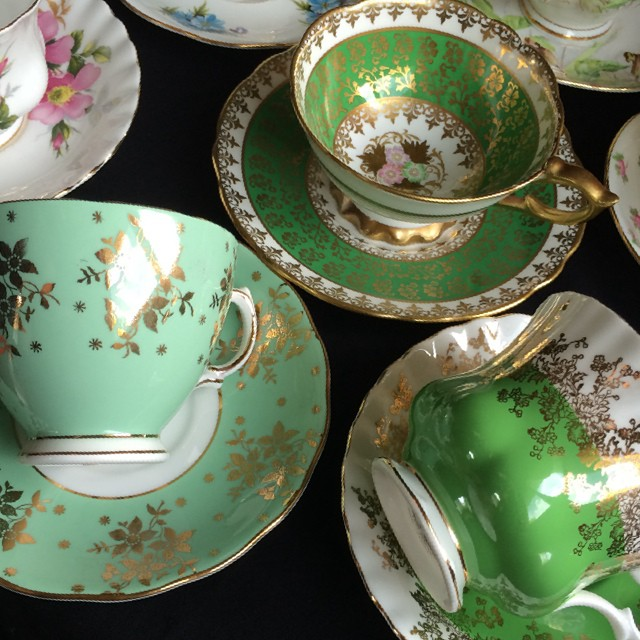 Green with envy? Don't be; these are all currently available! #teacup4sale #teacup #vintage #royalalbert #colclough #royalstafford #green More cups at teacup-treasure.com/catalogue