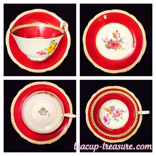 Beautiful 1934-1950 Red Aynsley, & many more, added today at teacup-treasure.com/catalogue #aynsley #teacup #vintage #red #floral