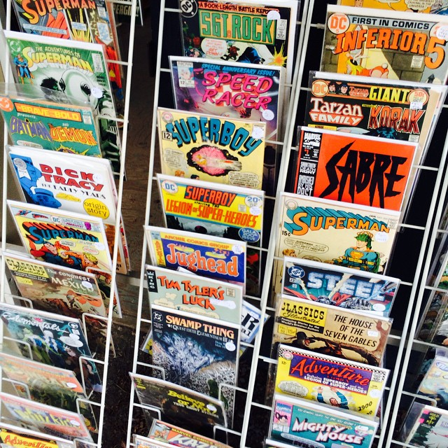 Love this vintage comic display. I don't collect or sell comics, but I appreciate the artful arrangement. #vintage #fleamarket #photography