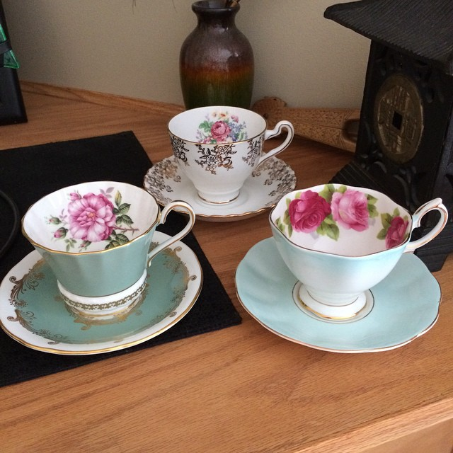 Three beautiful mismatched for sale. Would like to sell as a lot. Please DM offers. More cups at teacup-treasure.com/catalogue #teacup4sale #teacupforsale #tea #teacup #teacups #teatime #vintage