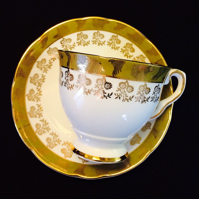 """Royal Stafford in magnificent """"Morning Glory"""". Email if interested. Ships Worldwide. Paypal accepted. More cups at http://teacup-treasure.com/catalogue #teacup4sale #teacupforsale #tea #teacup #teacups #teatime #vintage"""