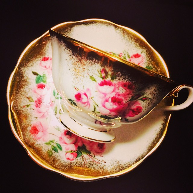Glorious gold with delicate pink roses. Email if interested. Ships Worldwide. Paypal accepted. More cups at http://teacup-treasure.com/catalogue #teacup4sale #teacupforsale #tea #teacup #teacups #teatime #vintage #royalalbert