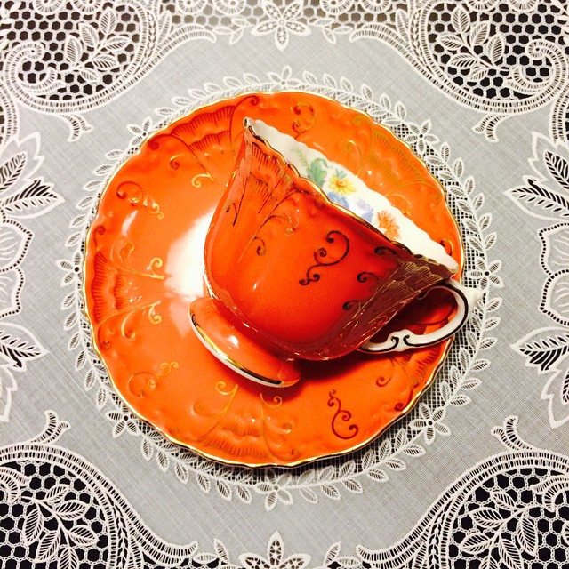 Alluring orange Aynsley. Email if interested. Ships Worldwide. Paypal accepted. More cups at http://teacup-treasure.com/catalogue #teacup4sale #teacupforsale #tea #teacup #teacups #teatime #vintage #aynsley