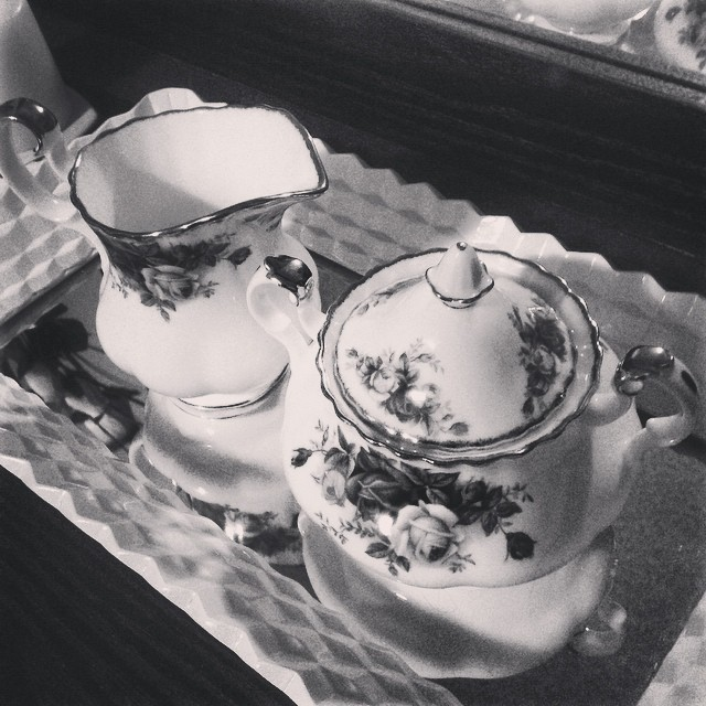 Moonlight Rose cream & sugar. One is used as my jewellery box & the other holds my hair pins. #blackandwhitechallenge #blackandwhite #privatecollection