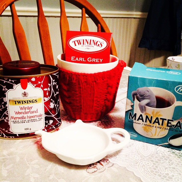 My tea related gifts from hubby. So excited to try out Winter Wonderland in my Manatea. :) #notforsale #mine #winter #tea #twinings #teatime