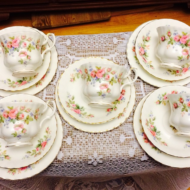 Moss Rose Trios. Set of 5 trios $100 USD plus shipping. Email if interested. Ships Worldwide. Paypal accepted. More cups at http://teacup-treasure.com/catalogue #teacup4sale #teacupforsale #tea #teacup #teacups #teatime #vintage