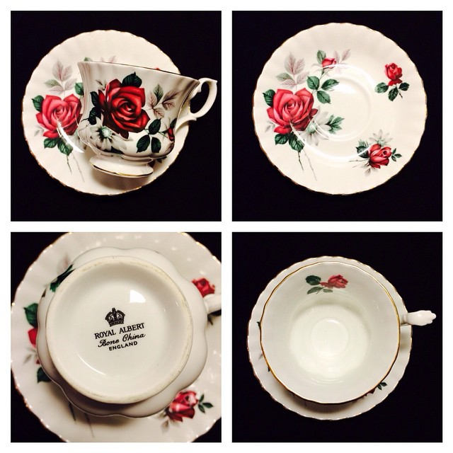 Royal Albert with rich red roses. Email if interested. Ships Worldwide. Paypal accepted. More cups at http://teacup-treasure.com/catalogue #teacup4sale #teacupforsale #tea #teacup #teacups #teatime #vintage