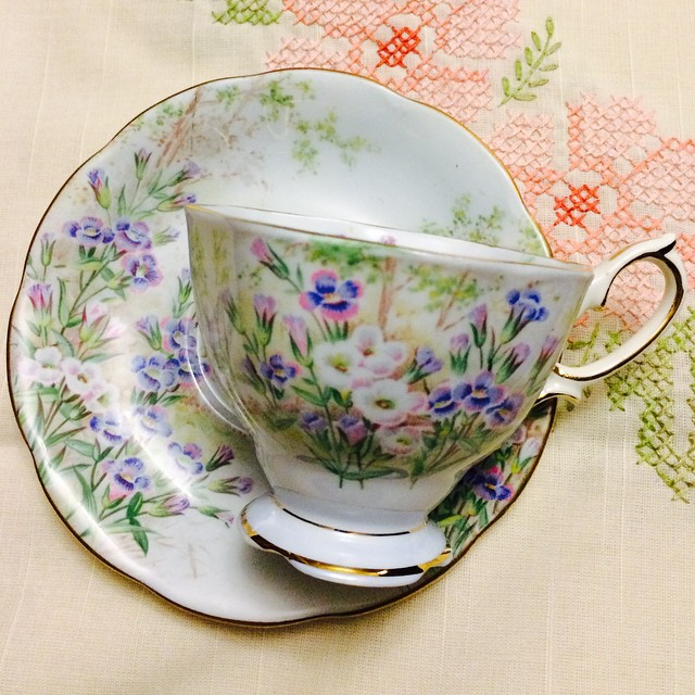 Fringed Gentian by Royal Albert. Email if interested. Ships Worldwide. Paypal accepted. More cups at http://teacup-treasure.com/catalogue #teacup4sale #teacupforsale #tea #teacup #teacups #teatime #vintage