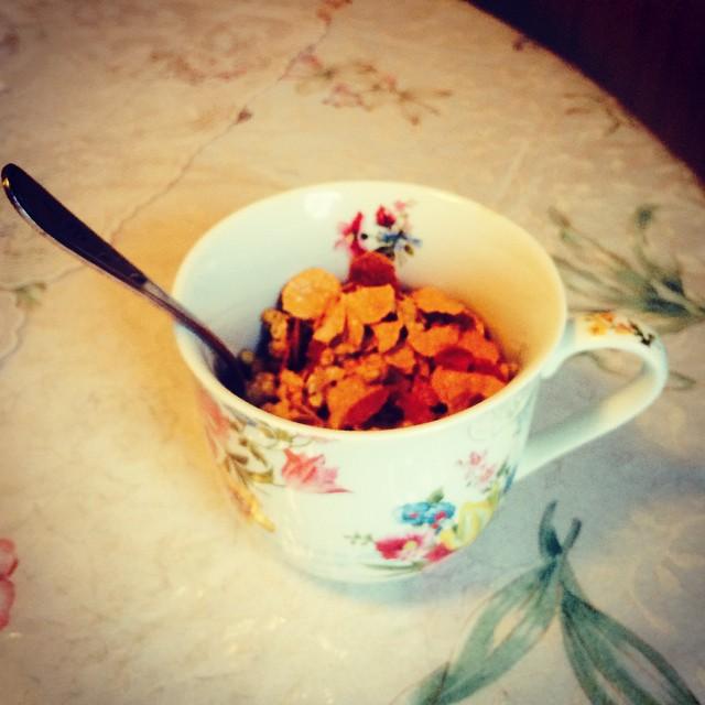 Breakfast! Love my maple nut flavored goodness. #mine #yum
