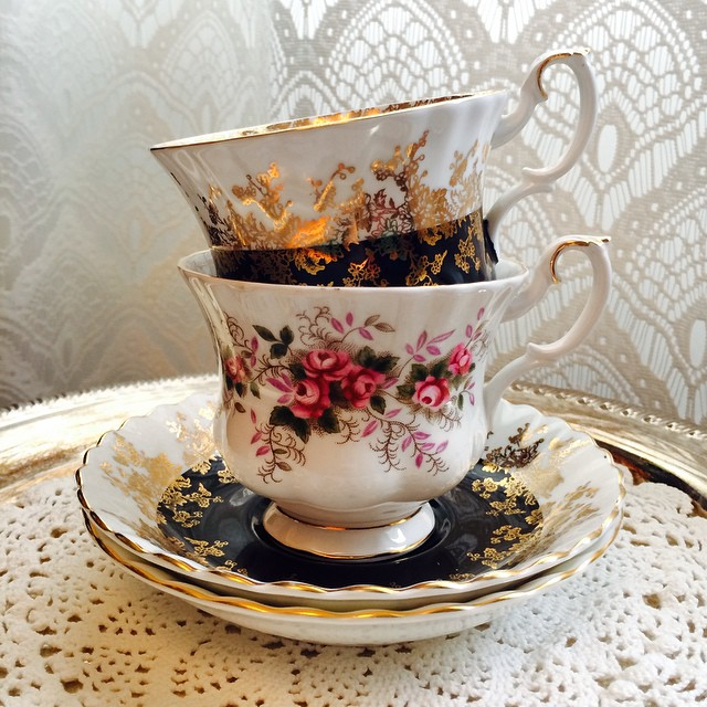 Royalty on top of royalty. Royal Albert in Regal & Lavender Rose. Email if interested. Ships Worldwide. Paypal accepted. More cups at http://teacup-treasure.com/catalogue #teacup4sale #teacupforsale #tea #teacup #teacups #teatime #vintage