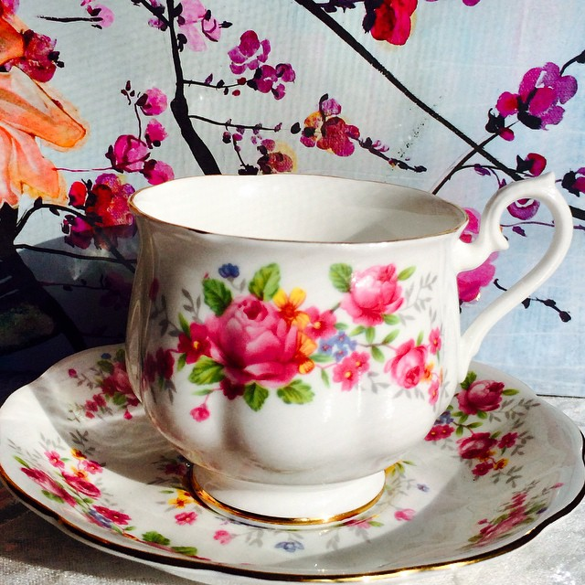 Royal Albert with pink roses. Upload tonight. More pics & prices on website. Email if interested. Ships Worldwide. Paypal accepted. More cups at http://teacup-treasure.com/catalogue #teacup4sale #teacupforsale #tea #teacup #teacups #teatime #vintage