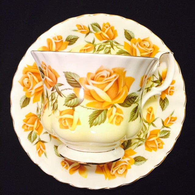 Radiant yellow rose Royal Albert. Email if interested. Ships Worldwide. Paypal accepted. More cups at http://teacup-treasure.com/catalogue #teacup4sale #teacupforsale #tea #teacup #teacups #teatime #vintage