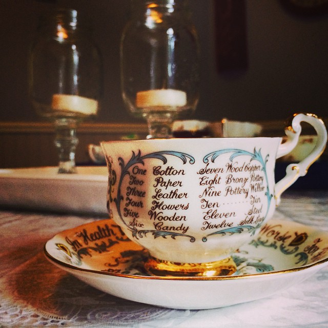 Beautiful anniversary piece. This pretty Paragon reminds you of your vows, & what gifts to give for each anniversary. Email if interested. Ships Worldwide. Paypal accepted. More cups at http://teacup-treasure.com/catalogue #teacup4sale #teacupforsale #tea #teacup #teacups #teatime #vintage #happyanniversary #paragon