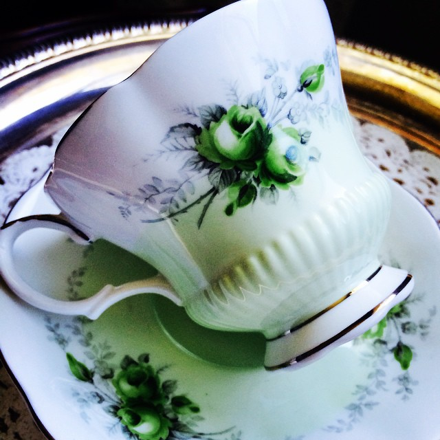 """Glorious is green. Royal Albert Rose Marie Series """"Noonday"""". Email if interested. Ships Worldwide. Paypal accepted. More cups at http://teacup-treasure.com/catalogue #teacup4sale #teacupforsale #tea #teacup #teacups #teatime #vintage"""